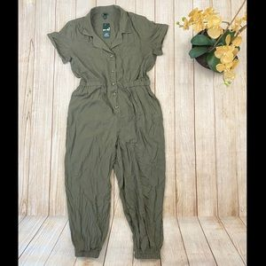 Wild Fable Olive Collared Button Front Romper XL